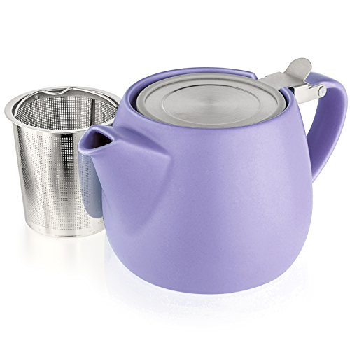 Tealyra - Pluto Porcelain Small Teapot Violet - 18.2-ounce (1-2 cups) - Matte Finish - Stainless Steel Lid and Extra-Fine Infuser To Brew Loose Leaf Tea - Ceramic Tea Brewer - 540ml - One Ceramic
