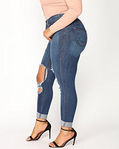 Denim Taille Jeans Crayon Leggings Haute Taille Femme Dchirs Pantalons Bleu Grande Collant M Slim ZpnxqAxIwv