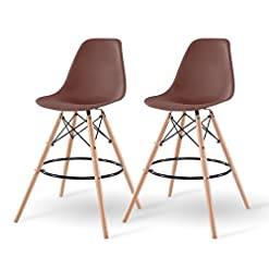 Kitchen IRIS USA Mid-Century Modern Shell Barstool with Wood Eiffel Legs, 2 Pack, Chocolate Brown modern barstools