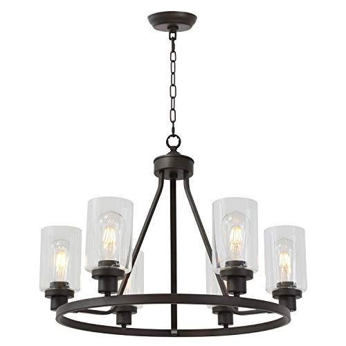 MELUCEE 6-Light Glass Chandelier Farmhouse Lighting, Kitchen Island Lighting Dining Room Light Fixtures Hanging Glass Pendant Light Oil Rubbed Bronze Finished UL Listed