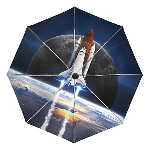 (Mr.Lucien Rocket Lift-Off Launch Compact Umbrella, Access To Space Planet Science Fiction Automatic Folding Travel Umbrella, Windproof Auto Open/Close for One Handed Operation 2021318 )