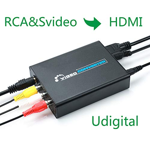 RCA Svideo to HDMI Converter,Udigital 3RCA AV CVBS Composite SVideo RL Audio to HDMI Converter Adapter Upscaler Support 720P/1080P N64 Sega Genesis -