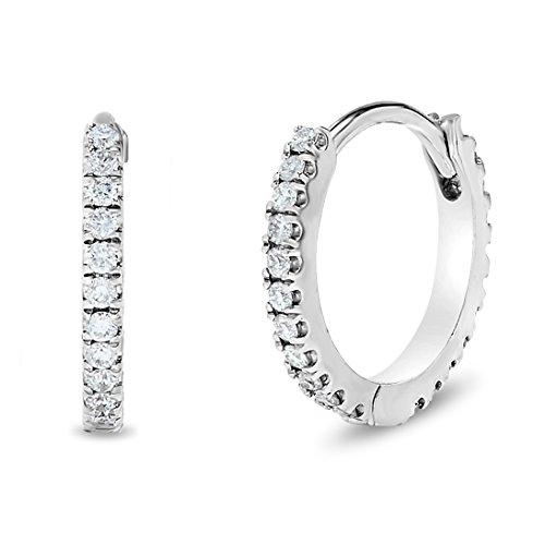 18k White Gold Diamond Hoop Earrings - 18k White Gold Small Diamond Hoop Earrings, Birthstone of April, (.15ct, L-M, I2-I3)