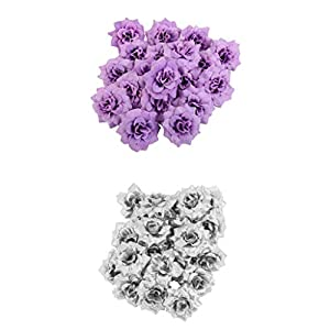Flameer 100pcs Silver+Lilac Wedding Fake Rose Artificial Silk Flower Head Party Décor 6
