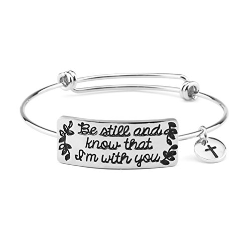 Bible Verse Bracelet for Girls Encouragement Gift Women Bangle Expandable Positive Quotes Christian (Silver)