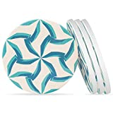 COACOR Absorbent Ceramic Drink Coaster Set of 4, Prevents Furniture and Tabletop Damages, Absorbs Spills and Condensation, Turquoise - Blue