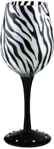 - Bottom's Up Handpainted Wine Glass 15oz Zebra Black Stripes Safari Wild Animal Glass for Red or White Wine, Rose, or Champagne Glass