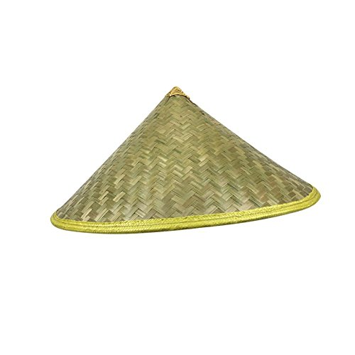 RoseSummer Chinese Oriental Coolie Straw Bamboo Sun Hat Farmer Fishing Rice Hat -