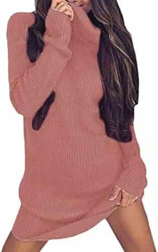 cce8aed93e Wofupowga Women s Long-Sleeve Sweater Slim Turtleneck Stylish Short Dress