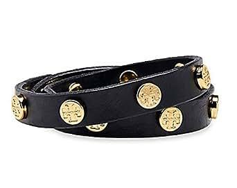 Tory Burch Patent Leather Double Wrap Stud Bracelet (Black)