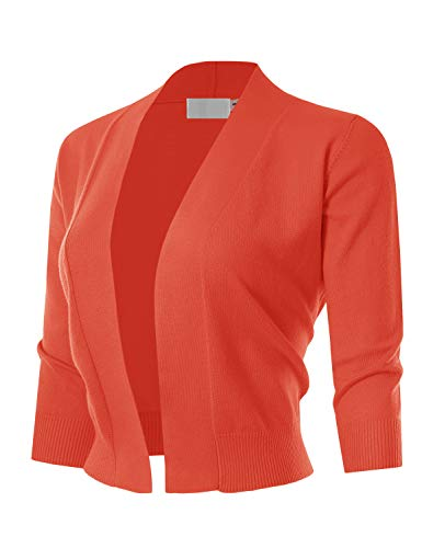 (MAYSIX APPAREL 3/4 Sleeve Solid Open Bolero Cropped Cardigan For Women ORANGE)