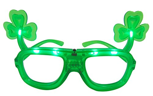 St Patrick's Day LED Flashing Shamrock Glasses Light Up Novelty for Paddy's Day]()
