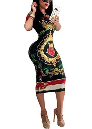 (Deloreva Women Short Sleeve Dress - Summer Floral Print Boho Tight Bodycon Evening Patry Club Outfit Black XL)