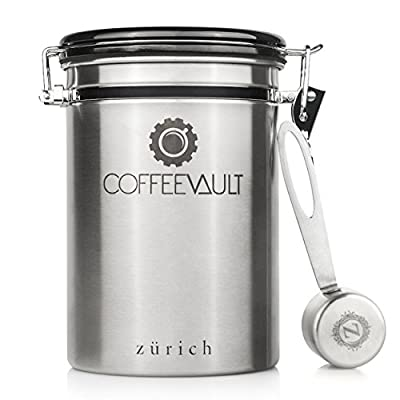 Coffee Vault Premium Coffee Canister Airtight | Large Stainless Steel Coffee Container by Zurich | 1lb Coffee Storage Container with Measure Scoop | Roasted Coffee Beans and Ground Coffee Freshness Pr