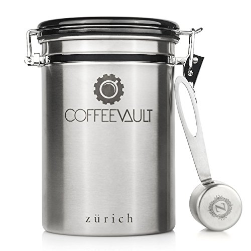 Coffee Vault Premium Coffee Canister Airtight - Large Stainless Steel Coffee Container by Zurich for 1lb Coffee Storage with Measure Scoop. Roasted Coffee Beans and Ground Coffee Freshness Protected.