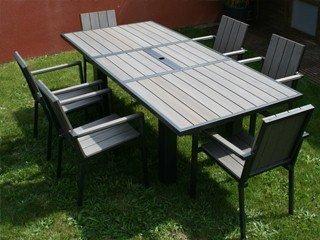 Table de jardin en aluminium et composite clair DCB Groupe T51B22 ...