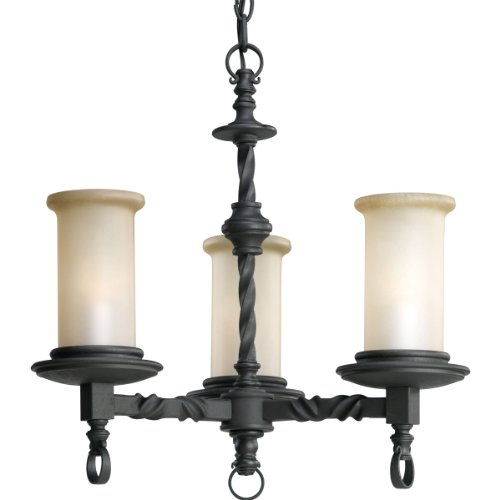 586-80 3-Light Santiago Chandelier, Forged Black ()