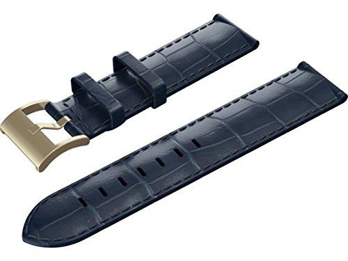 Isaac Mizrahi HP Smart Watch Band - Deep Sea Blue Croco Strap with Gold Buckle