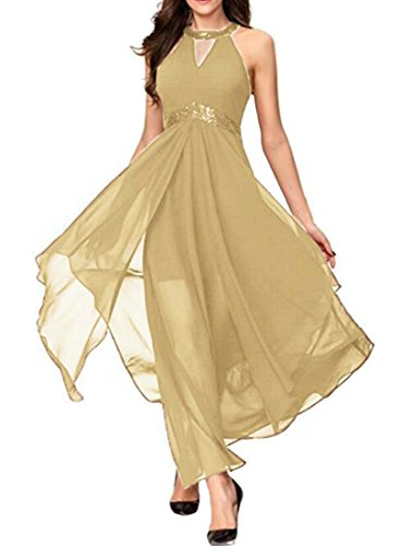Slit Out Long Empire Cut Dresses Halter Waist Flowy Cromoncent Apricot Womens qPx4tn7