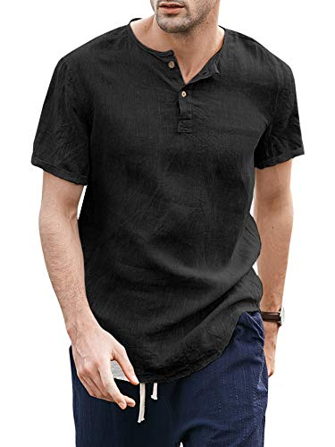 Mens Linen Henley Shirt Casual 3/4 Sleeve Pullovers V Neck Shirts Curved Hem Tee Beach T Shirt Tops (XX-Large, A-Black)