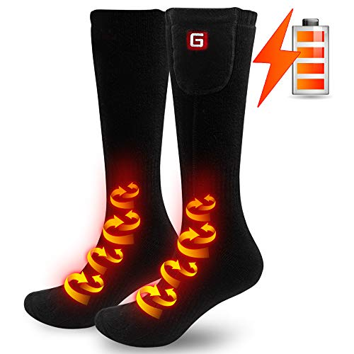 Electric Heated Socks Hiking Scoks Foot Warmers for Chronically Cold Feet Ideal Christmas Gift 2.4V (Black)
