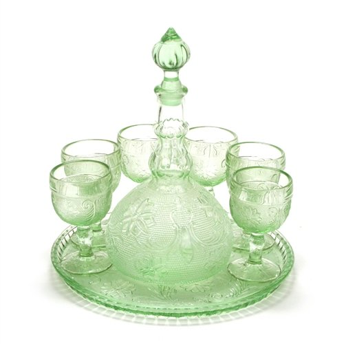 Sandwich Light Green by Tiara, Glass Decanter Set, Tray Tiara Decanter