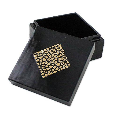 - NOVICA Decorative East Meets West Eggshell Mosaic Box, Black and White Black, Dazzling Diamond'
