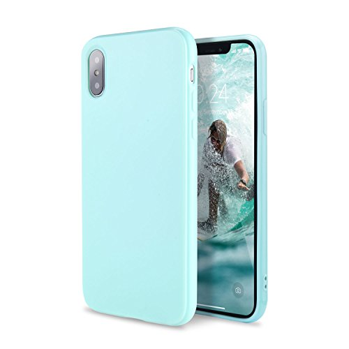 iPhone X Case, FGA Shockproof Scratch-resistant Ultra Slim Fit Solid Color Design Anti Slip Glossy Soft TPU Gel Back Case Cover for iPhone X, iPhone 10 (2017) (Mint Green)