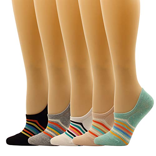 (Women Low Cut Liner Socks Rainbow Design No Show Sock For Teen Lightweight Non Slip Cotton (Rainbow-Ribbed Low Cut 5pairs))