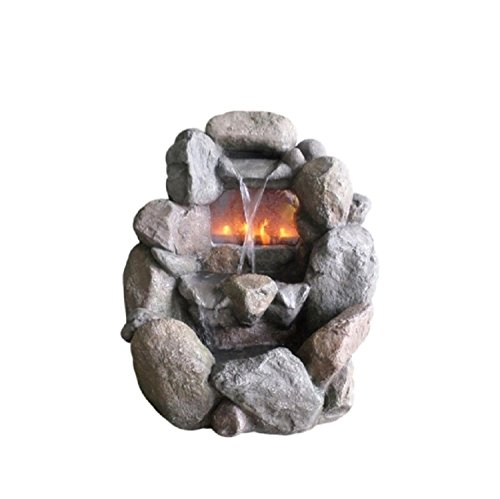 NORTHLIGHT AG37060 Stone Gray Faux Rock Fireplace Waterfall Fountain (Fireplace Faux Stone Outdoor)