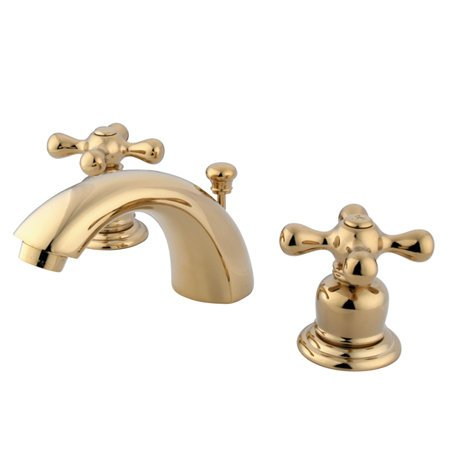 Kingston Brass GKB942AX Magellan Mini-Widespread Lavatory Faucet with Retail Pop-up, 4-7/16 inch in Spout Reach, Polished Brass Transitional 8 Lavatory Faucet