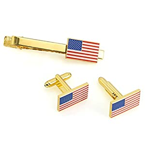 TONOS Patriotic American Flag Neck Tie Clip and Cufflinks Set - Gold