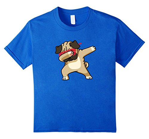 [Kids Dabbing Pug Funny Shirt Dab Dog Hip Hop 12 Royal Blue] (Toddler Cat Costume Ideas)