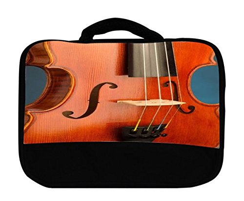 Trendy Accessories Classic Violin Design Print Insulated Canvas Lunch Bag