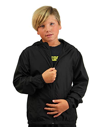 Global Kid's Hooded Lightweight Windbreaker Rain Jacket Water Resistant Shell (Large, Black)