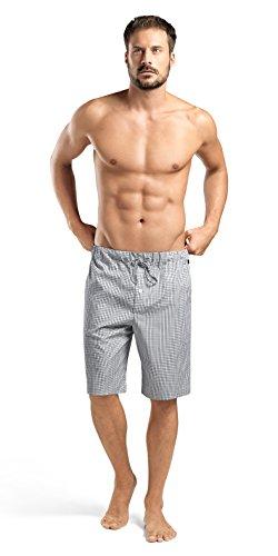 HANRO Men's Night and Day Short Woven Pant, Shaded Check, Medium