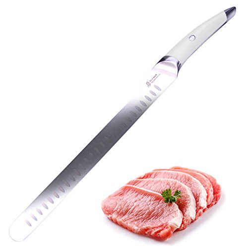 12 Inch White Handle (TUO CUTLERY Slicing Knife 12'' White Handle-Japanese Ultra Stainless Steel Kitchen Knife)