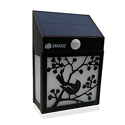 SMADZ Antique Solar Wall Light 2 LEDs Waterproof Wireless Decorative for Outdoor Garden Fence Wall Step Lawn Pathway Garden - 5 Operationing Modes