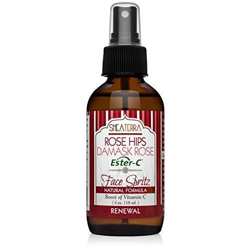 Shea Terra Organics Moroccan (Damask) Rose Water Ester-C Facial Spritz | Hydrating Facial Toner to Nourish Skin with Collagen Regeneration & Anti-Aging Benefits - Paraben and Alcohol Free - 4 oz