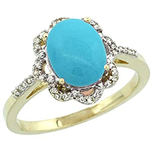 14K Yellow Gold Natural Diamond Halo Turquoise Ring Oval 9x7mm, size 8