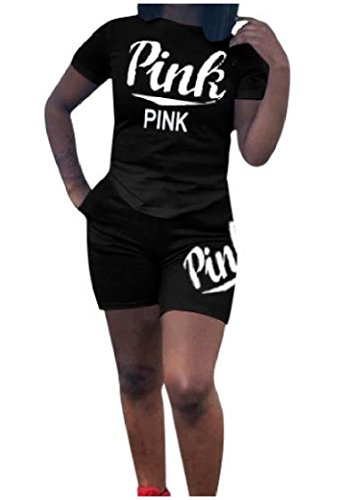 2 Funny Womens Tracksuit - Coolred-Women 2-Piece Short-Sleeve Letter Printed Sports Comfy Outfit Sweatpants Tracksuit Playsuit Shorts Rompers Black XLarge