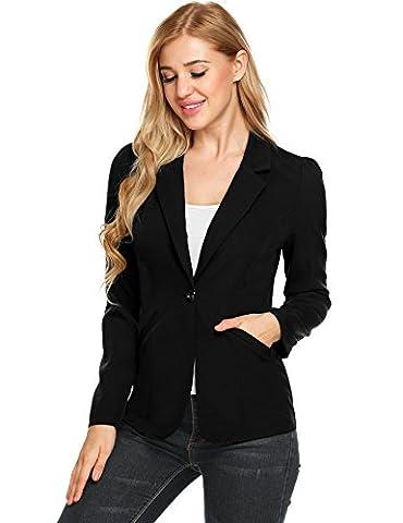 GEESENSS Womens Casual Work Office Soild Cardigan Blazer Jacket (Black, XXL) (Office Coat)
