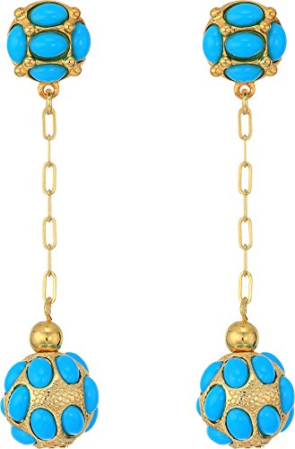 Kenneth Jay Lane Women's Gold Chain/Turquoise Cabs Top/Drop Ball Pierced Earrings Turquoise One Size by Kenneth Jay Lane