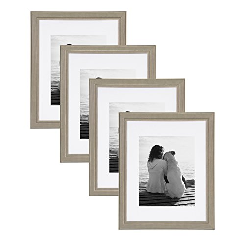 DesignOvation Kieva Solid Wood Picture Framess, Distressed Gray 11x14 matted to 8x10, Pack of 4 (Wood Distressed Frame 11x14)