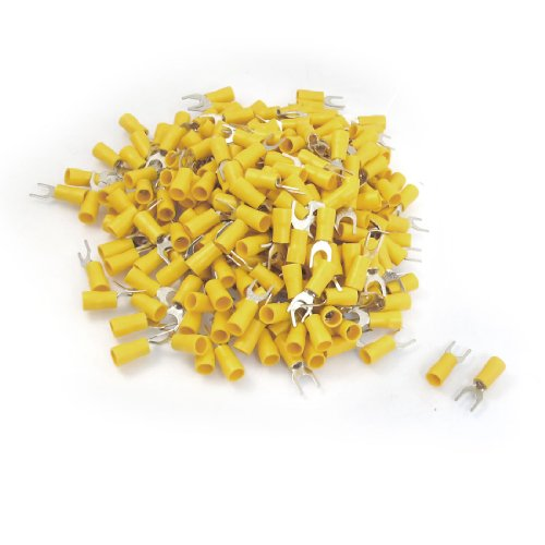 uxcell 12-10 AWG Yellow PVC Sleeve Insulating Fork Terminals Connector 500 Pcs by uxcell