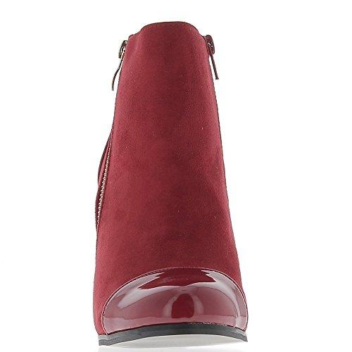 Bottines femme rouges à talon de 10cm bi matière
