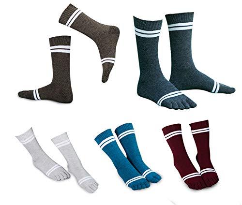 Toe Socks Cotton Crew Five Finger Socks Running Athletic for Men Women 5 Pack