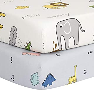 """TILLYOU Luxury Softer Thicker Crib Sheets Set, 100% Egyptian Cotton Printed Toddler Sheets for Baby Boys Girls, Breathable Comfy Durable, 28""""x52"""", 2 Pack Dinosaur (Gray) & Animals Party (White)"""