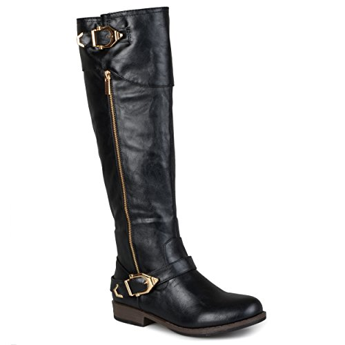 Journee Collection Womens Regular Sized and Wide-Calf Side-Zipper Buckle Riding Boots Black, 7 Regular US