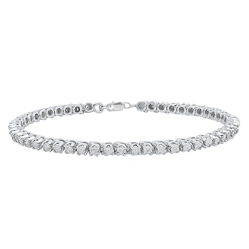 - Dazzlingrock Collection 0.10 Carat (ctw) Round Cut White Diamond Ladies Tennis Bracelet 1/10 CT, Sterling Silver